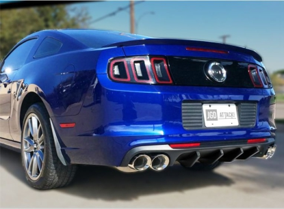 Quad Hole Rear Bumper Diffuser SHELBY Style  (MUSTANG 13-14 V6, GT)